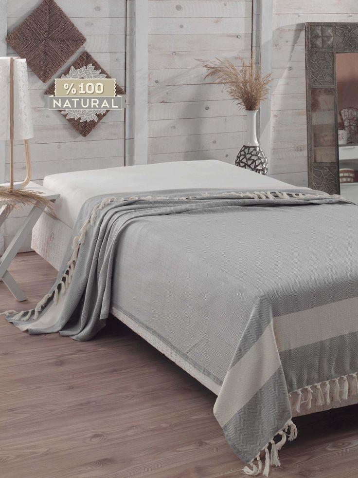 Szürke Halszálkás pamut ágytakaró