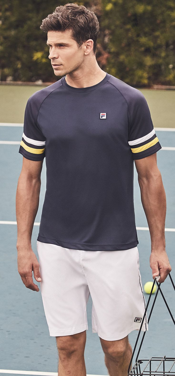 Fila Men S Legend Collection Of Premium Tennis Apparel For Spring 2018 This Tennis Line Includes Performance Tennis Shirts Polos Shorts And Warm Ups In Nav
