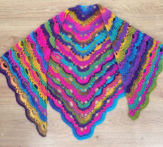 Crochet Virus Shawl Multi Colour