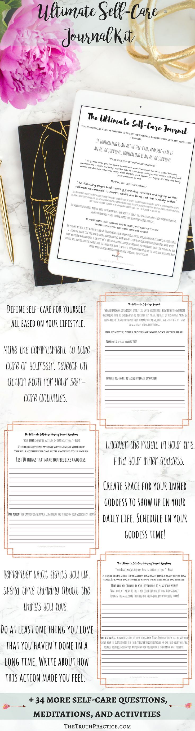 You don't have to brainstorm self-care activities with this self-care printable journal. Each self-care worksheet is filled with journal/ writing prompts to help you discover your passions, find your joy, open your heart, and heal your soul. The Ultimate Self-Care journal asks you the questions you wish your best friend would ask. Click the pin to get journaling, self-care therapy!