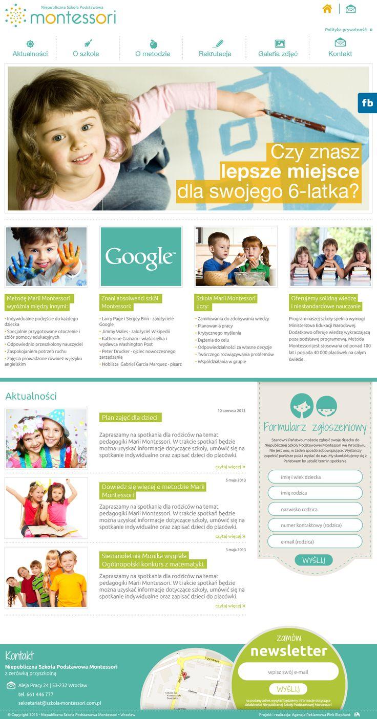 Website for Montessori school     Design: www.pinkelephant.pl /web design /layout /portfolio /web /design /logo