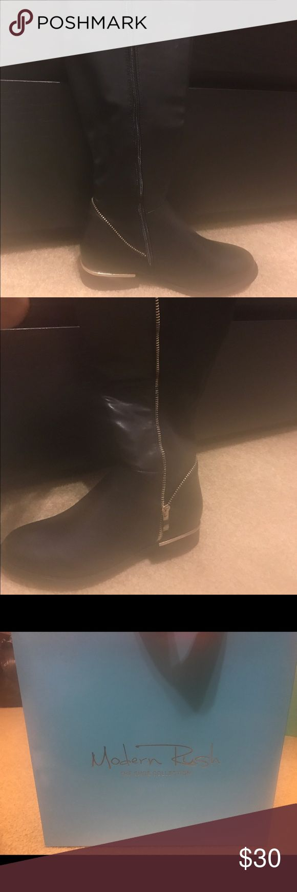NWT Blk Riding Boots NEW with tags!!   -black with gold zippers -size 7 -will meet in south hills area, Shv or Steele building m-f  *The fit around the calf is tight, I would recommend for a smaller calf individual. I am average size and can fit riding boots bought in the stores. modern rush  Shoes Combat & Moto Boots