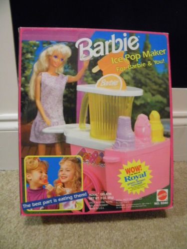 Vintage 1992 Barbie Ice Pop Maker Stand Playset New   eBay
