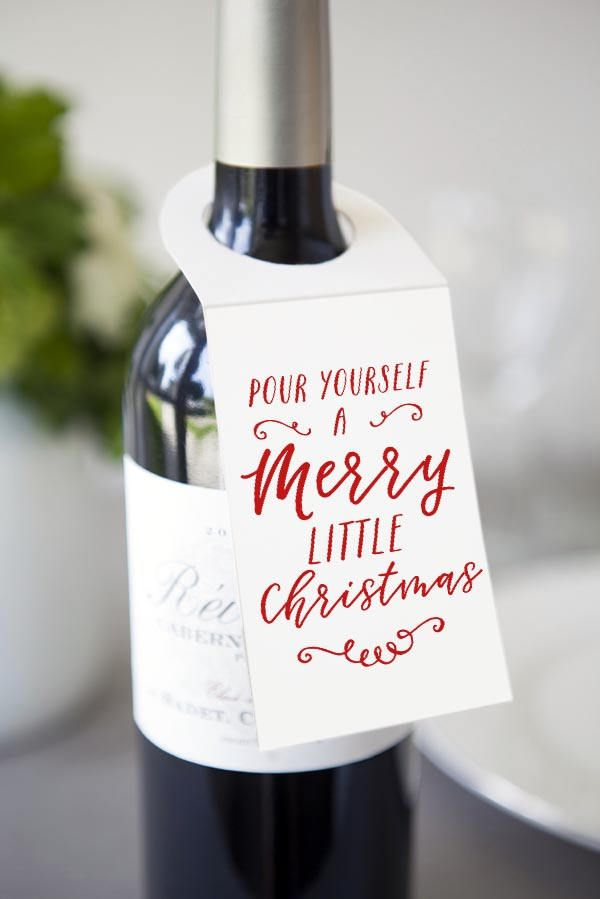 photograph about Printable Wine Bottle Tags named Printable wine tag Wine companion present Xmas bottle present