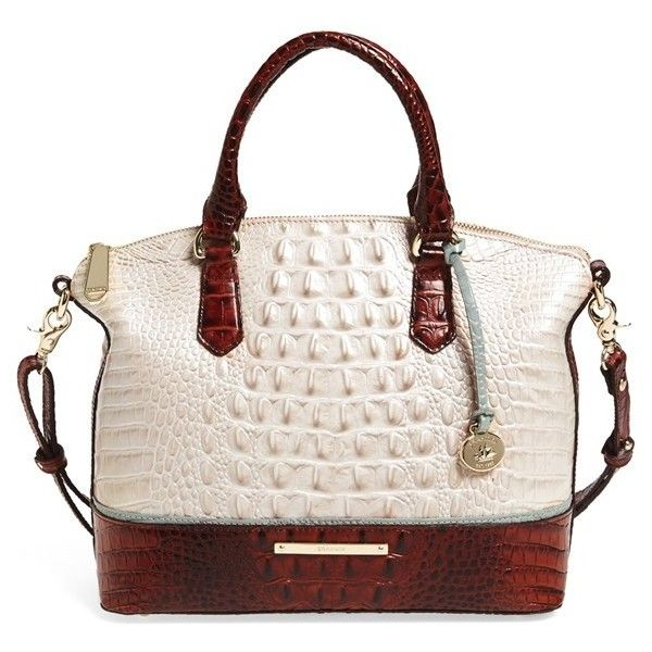 Brahmin 'Duxbury' Bicolor Croc Embossed Leather Satchel ($295) ❤ liked on Polyvore featuring bags, handbags, brahmin handbags, brahmin bags, brahmin purses and brahmin
