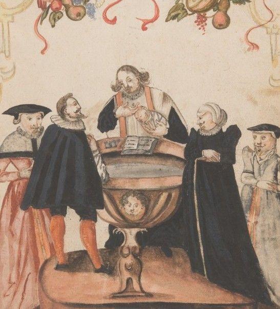 Paroisse catholique d'Hilsenheim, page de garde du registre paroissial des baptêmes, scène de baptême, 1618-1685. ADBR, 3 E 195/1. © Archives départementales du Bas-Rhin