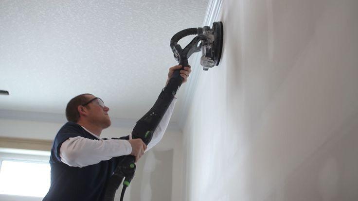 Sanding drywall using the Festool Planex.