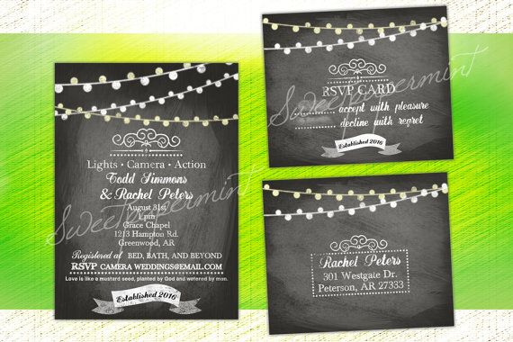 Chalk & Lights Wedding or Shower Invitation Card by SweetPapermint