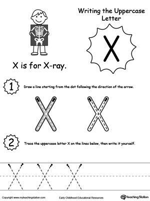 Writing Uppercase Letter X Preschool letters, Letter x