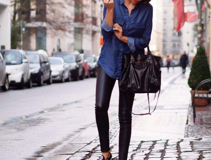 Jolie tenue pantalon blanc chemise jeans femme jean chemise legging en cuir