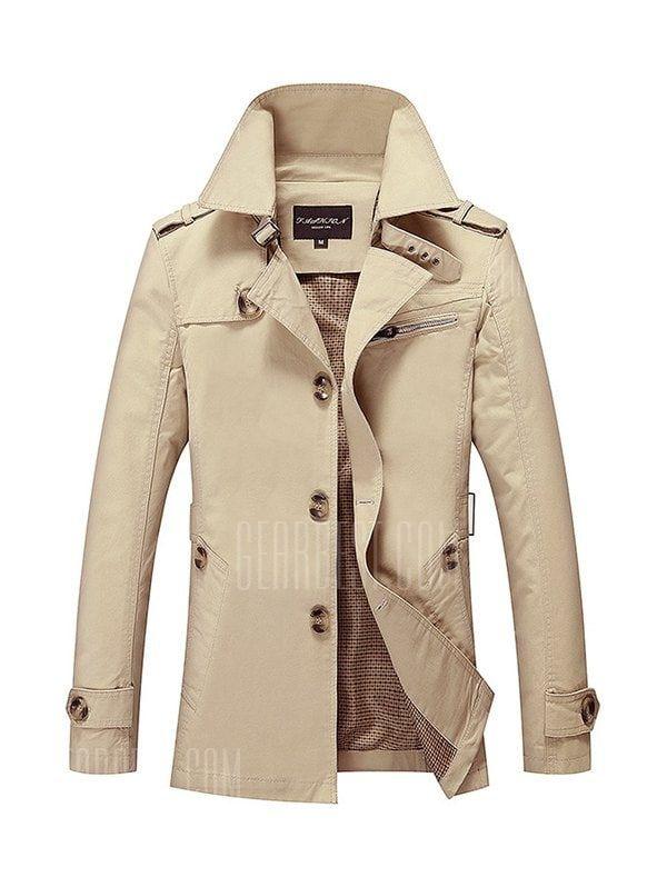 Stylish Single Breasted Plus Size Jacket  -  4XL  KHAKI US $41.47 FREE SHIPPING