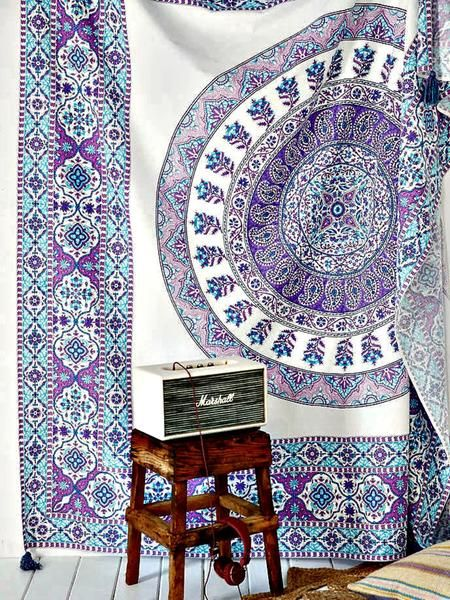 """MSRP: $59.00 GLAM: $29.90 Measures Approx. 84"""" x 94"""" Inches (Full/Queen Size) Color: Purple Multi Print Mesmerizing tapestry crafted in soft woven cotton. Instantly adds a unique touch of boho charm t"""