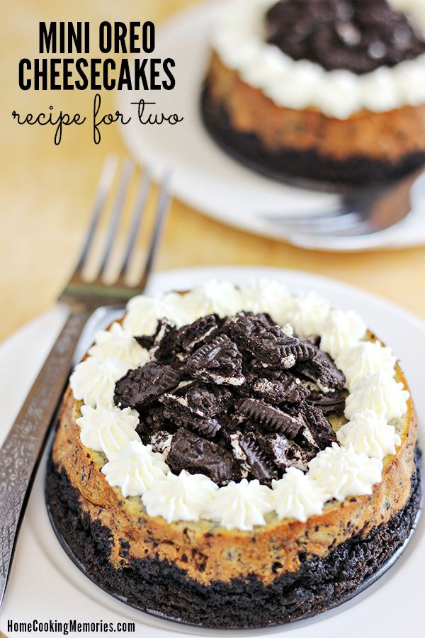 "This Mini Oreo Cheesecakes for Two recipe will be the perfect answer when a large cheesecake is too much. This recipe will create two small cheesecakes in little 4"" diameter springform pans."