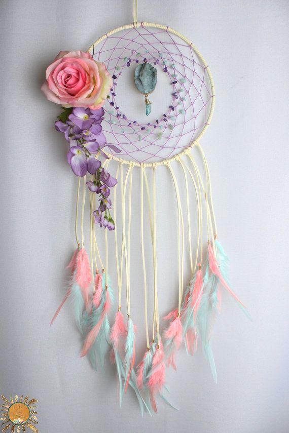 Cream Dream Catcher with Peach and Lavender, Amethyst, Amazonite, Aqua Aura Quartz, a Druzy Pendant, Flowers, and a Rose