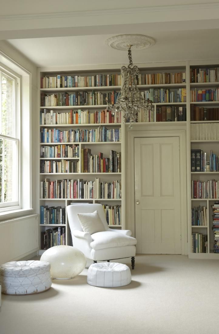 Living Room Like A Library: Creamy Whites, Reading Nooks, Votives&church Candles In