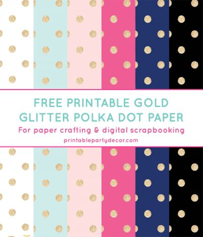Free Printable Gold Glitter Polka Dot Digital Paper from printablepartydecor.com