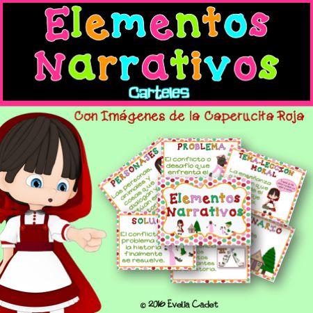 Estos carteles de los Elementos Narrativos están diseñados para que los niños y las niñas aprendan acerca de los componentes más importantes de una historia. Los 6 carteles son bastante gráficos y muestran el vocabulario académico, la definición y una ilustración (de la historia de la Caperucita Roja) de cada uno de los Elementos Narrativos o Literarios.