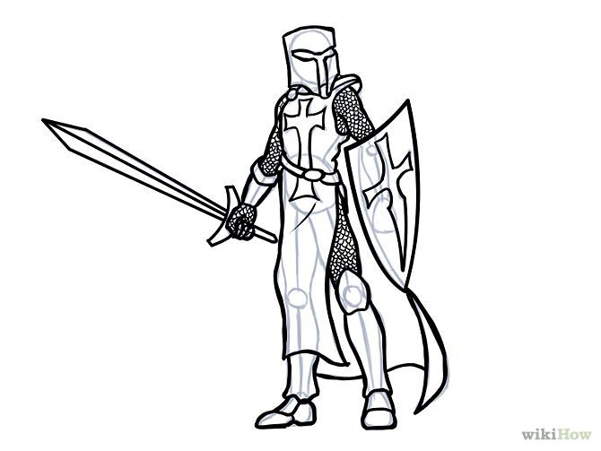 Line Drawing Knight : Draw a knight and