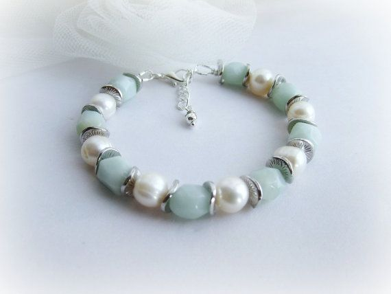 Genuine amazonite bracelet freshwater pearl by MalinaCapricciosa