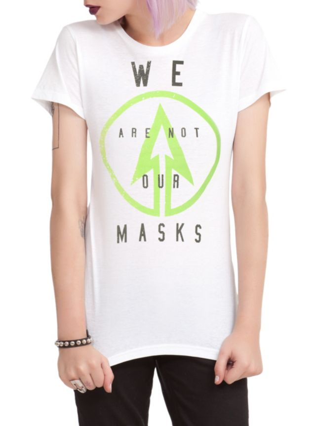 "Fitted white tee with arrow logo & text design that reads ""We Are Not Our Masks."""