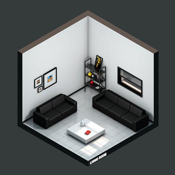 Isometric Living Room on Behance