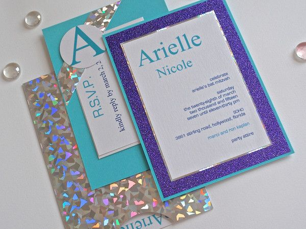These unique, custom invitations can be used for any occasion [Bat Mitzvah invitation pictured]. Made from triple layered heavy card stock, the matching envelope is handmade and comes with a plastic s