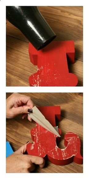 Paint, blow dry, and then duct tape to give a weathered look. What a neat idea from The Wood Connection blog.
