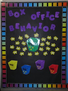 Alternate behavior bulletin board for a Hollywood/movie theme.  Move popcorn pieces!
