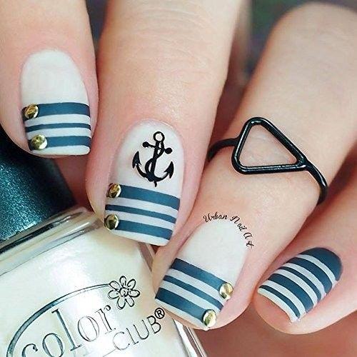 Uñas náuticas: Papel de envolver Plantillas para uñas, bastón de caramelo, etiquetas engomadas del clavo de Navidad, el arte del clavo, vinilos de uñas - Media (16) Plantillas de belleza: