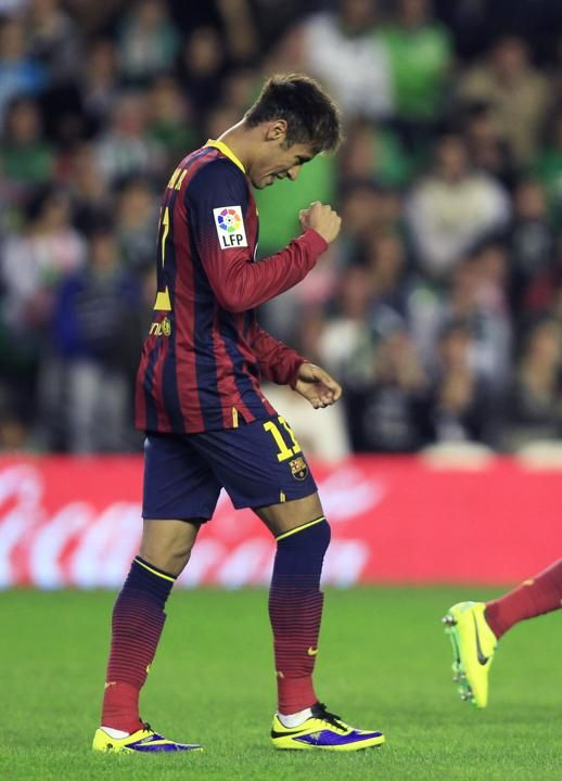 Barcelona's Neymar celebrates after scoring against Real Betis during their Spanish First Division soccer match in Seville