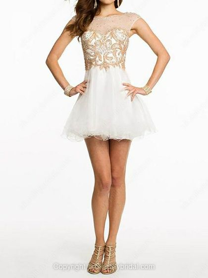 A-line Scoop Tulle Short/Mini Beading Prom Dresses -USD$145.60