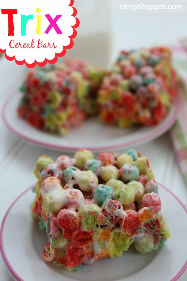 Wonder if these could work with fruit loops or something similar? Trix Cereal Bars. My kiddos LOVE these.