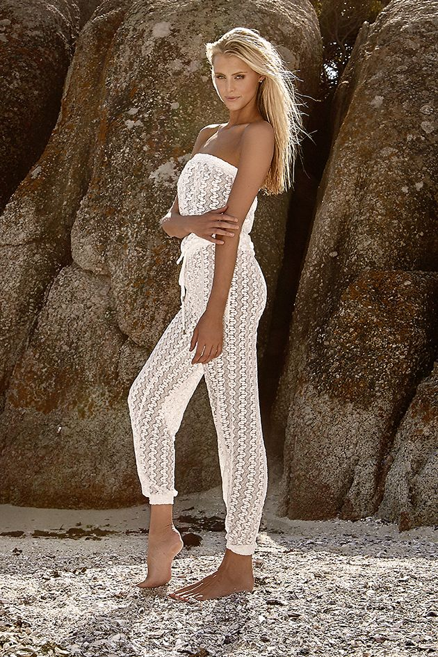 "Melissa Odabash - 2016 Collection - The ""Stella"" crochet jumpsuit in Cream Knit. #MelissaOdabash"