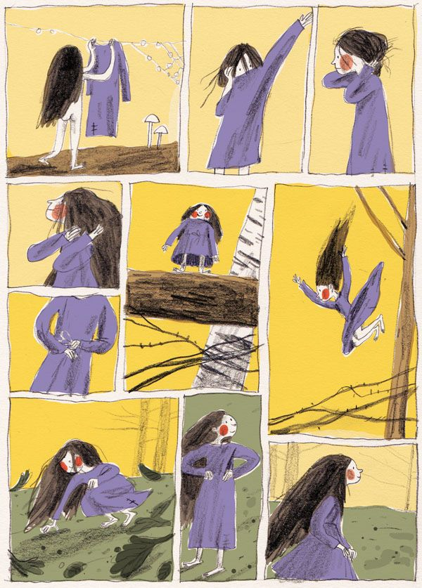 A two page comic about a tiny woodland monster girl.