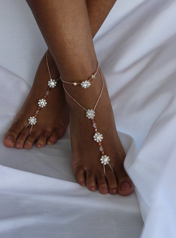 704f1058bcb7a8 Rose Gold Foot Jewelry Barefoot Sandals Footless Sandal Bridal Foot Jewelry  Wedding Barefoot Sandal
