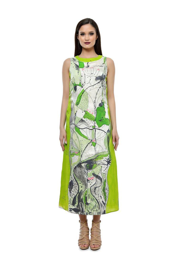 Rochie verde din matase naturala pictata manual CR012LS de la Ama Fashion