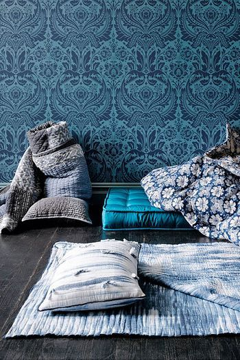 wall paper, wall paper!Indigo, Blue Interiors, Quilt, Floors, Pattern, Colors Schemes, Blue Wallpapers, Bedrooms, Royal Blue