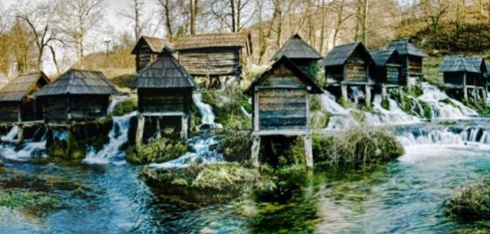 Water mills on the Pliva lake