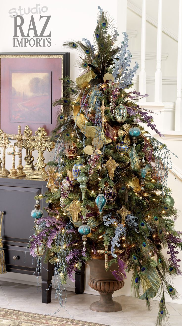 RAZ Christmas Tree in purple, teal, gold and brown.