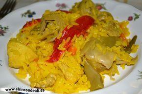 Paella de pollo con verduras. INGREDIENTES 1 pollo fresco troceado y sin piel 1 cebolla 3 dientes de ajo 2 zanahorias 100 gramos de habichuelas (judías verdes) 1 bote de alcachofas 1 bote de pimientos morrones  sal  pimienta  arroz vaporizado 3 tazas de caldo de pollo por 1 taza de arroz vaporizado  azafrán o colorante si no se tiene azafrán  aceite de oliva el zumo de 1 limón