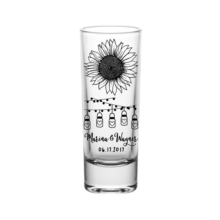 """100x Cordial 2oz Clear Tall Shot Glasses Rustic Wedding Favors   Country Sunflower (1C) String Lights   48 Imprint Colors   by """"ThatWedShop"""" on Etsy   #ThatWeddingShop"""