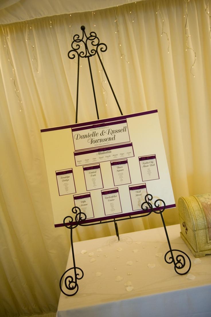 Aubergine wedding table plan