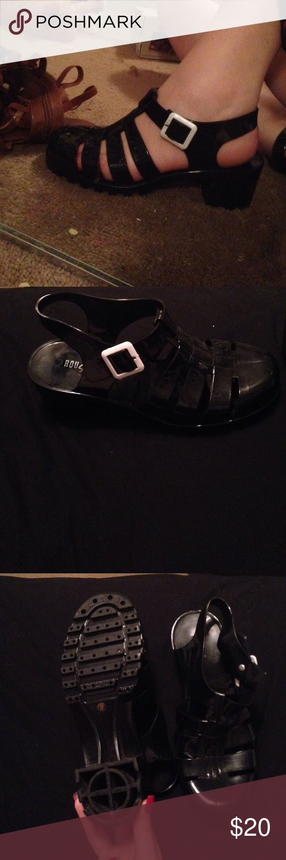 Black jelly sandals american apparel - Black Jelly Shoes Never Worn