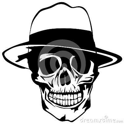 Vector illustration of mobster skull hat.