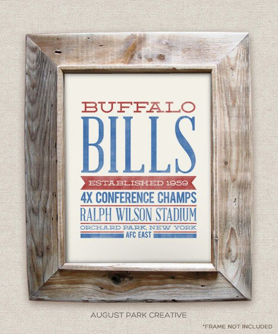 Nursery decor. Buffalo Bills - 8x10- Rustic - Vintage Style - Typographic Art Print - Subway Style - Football