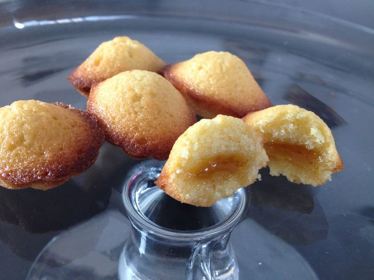 Small madeleines stuffed with Home made Mirabelles jam