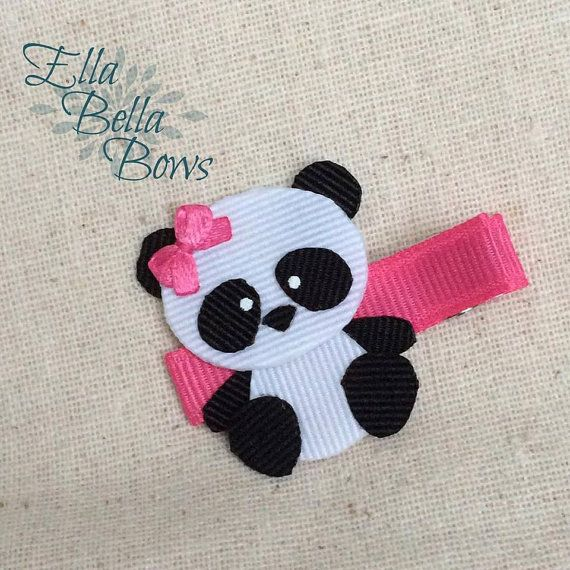 Giant Panda Bear Ribbon Sculpture Hair Clip by EllaBellaBowsWI