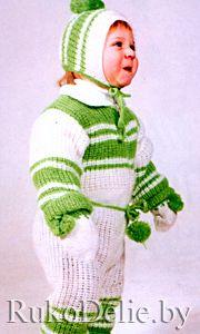 вязаный спицами комплект для малыша на 1 годик младенцам малышам