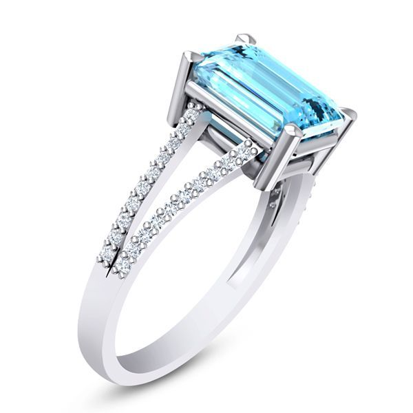 Neptune Diamond and Aquamarine Ring #DiamondRing #EngagementRing