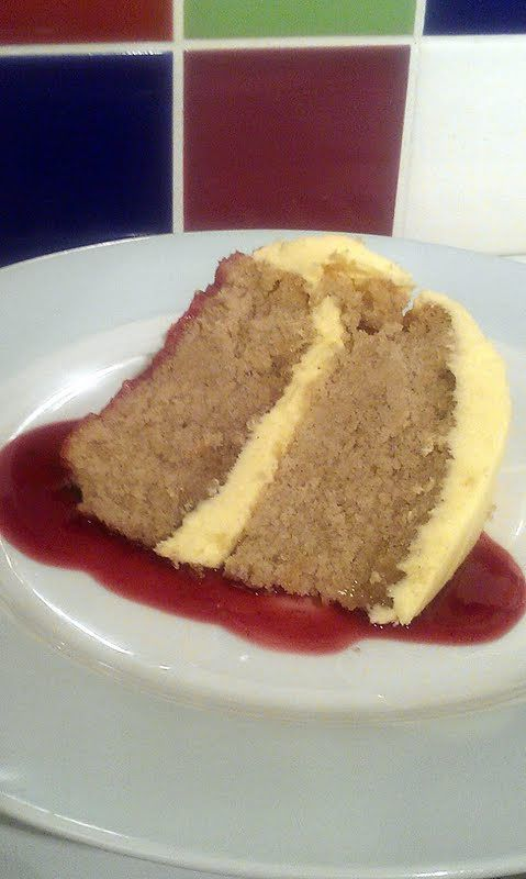 """Vickys Lavender & Lemon Cake with Raspberry Sauce, Gluten, Dairy, Egg & Soy-Free - """"I'm very pleased with this one! It made a great dessert cake and the flavours all work well with eachother. Thanks to my hubby for assembly & pics after I stupidly burnt myself making the syrup!"""" @allthecooks #recipe"""